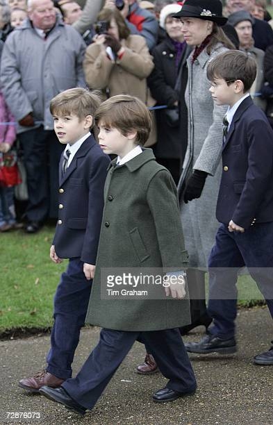 Royal cousins Charles ArmstrongJones Samuel Chatto and Arthur Chatto with their mother Lady Sarah Chatto walk to a Christmas Day service at...