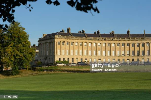 royal crescent, bath spa, somerset - early morning light - bath england stock pictures, royalty-free photos & images