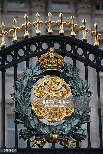 Royal crest on the Gates of Buckingham Palace on October 22 2010 in London England