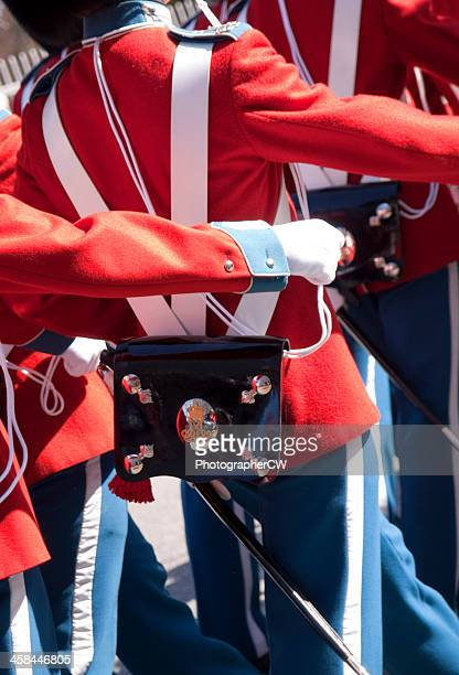 royal danish life guards marching in gala uniforms - honor guard stock pictures, royalty-free photos & images