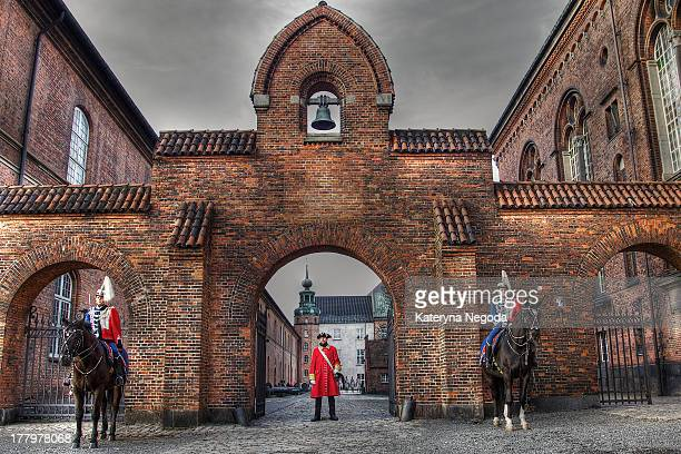Royal Danish retinue are waiting for the Danish Queen to arrive at the Tøjhusmuseet, the Royal Danish Arsenal Museum in Copenhagen, Denmark.