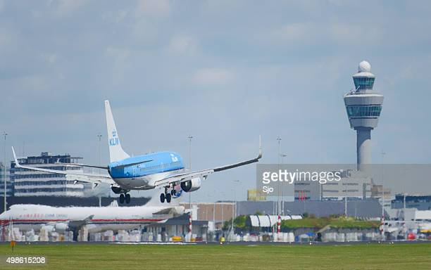 KLM Royal Dutch Airlines Boeing 737 landing at Schiphol airport