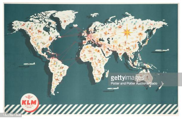 """Royal Dutch Airlines"""" pictorial map poster depicting global service routes and iconic attractions awaiting travelers at each destination, illustrated..."""