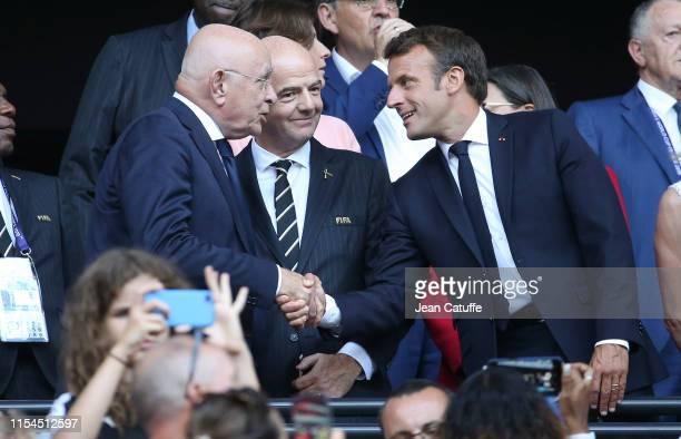 Royal Dutch Football Association KNVB President Michael van Praag, FIFA President Gianni Infantino and President of France Emmanuel Macron prior to...