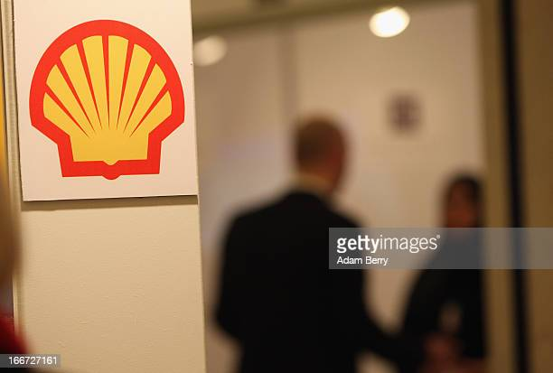 Royal Dutch Shell logo is displayed durinig the Qatar Business and Investment Forum 2013 on April 16 2013 in Berlin Germany Through its oil and gas...