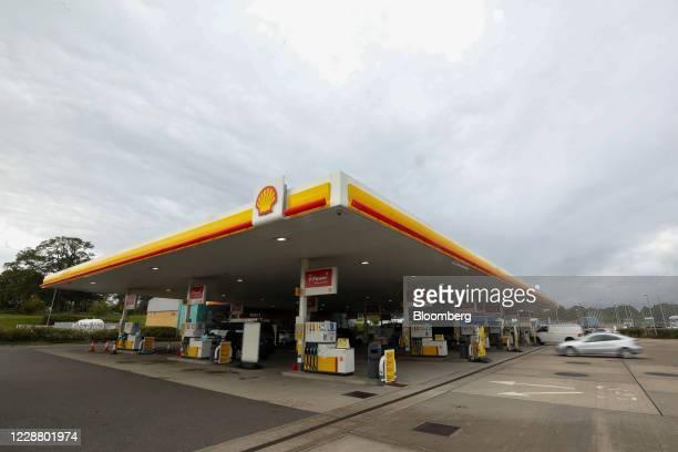 Royal Dutch Shell Plc petrol filling station stands in Cobham, U.K., on Wednesday, Sept. 30, 2020. Royal Dutch Shell Plcwill cut as many as 9,000...