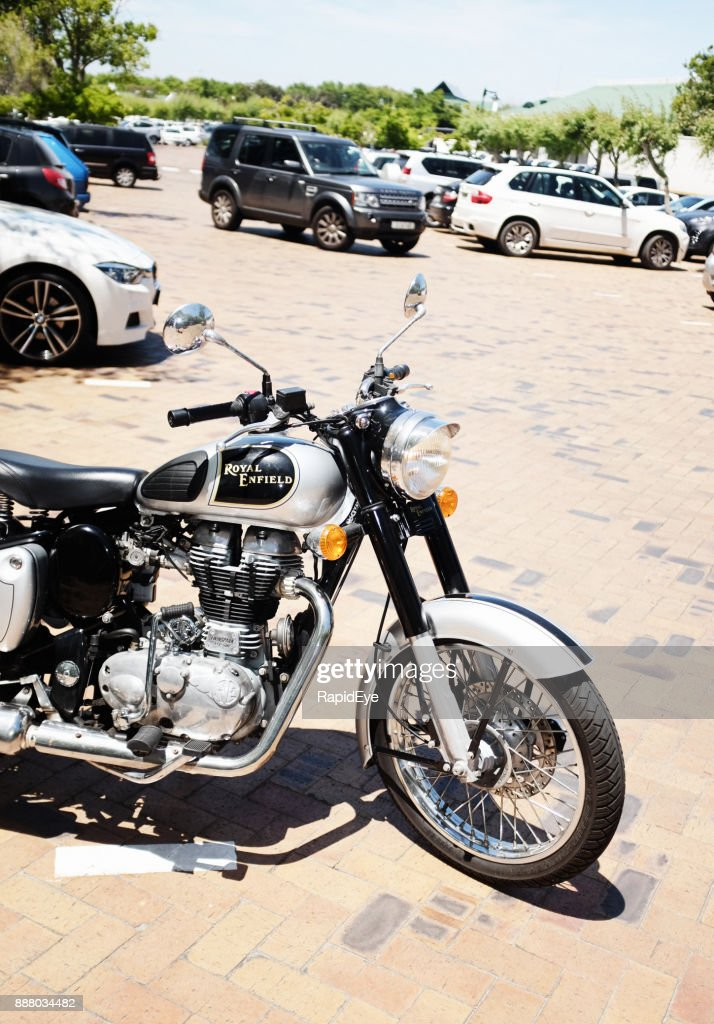 Royal Enfield Classic 500 motorcycle in parking lot