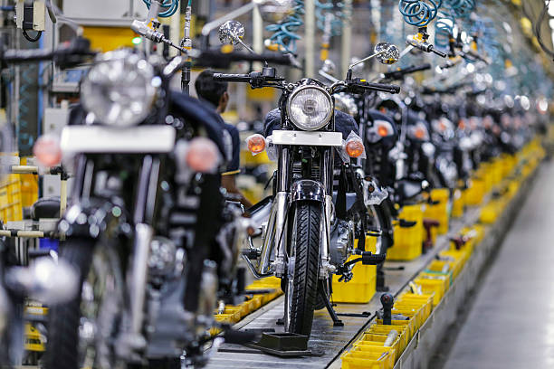 Royal Enfield Motors Ltd Classic 350 motorcycles move along a conveyor on the production line at the company`s manufacturing facility in Chennai...