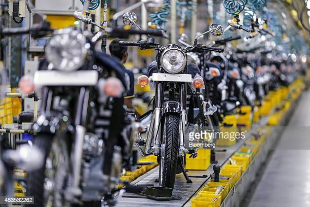 Royal Enfield Motors Ltd Classic 350 motorcycles move along a conveyor on the production line at the company's manufacturing facility in Chennai...
