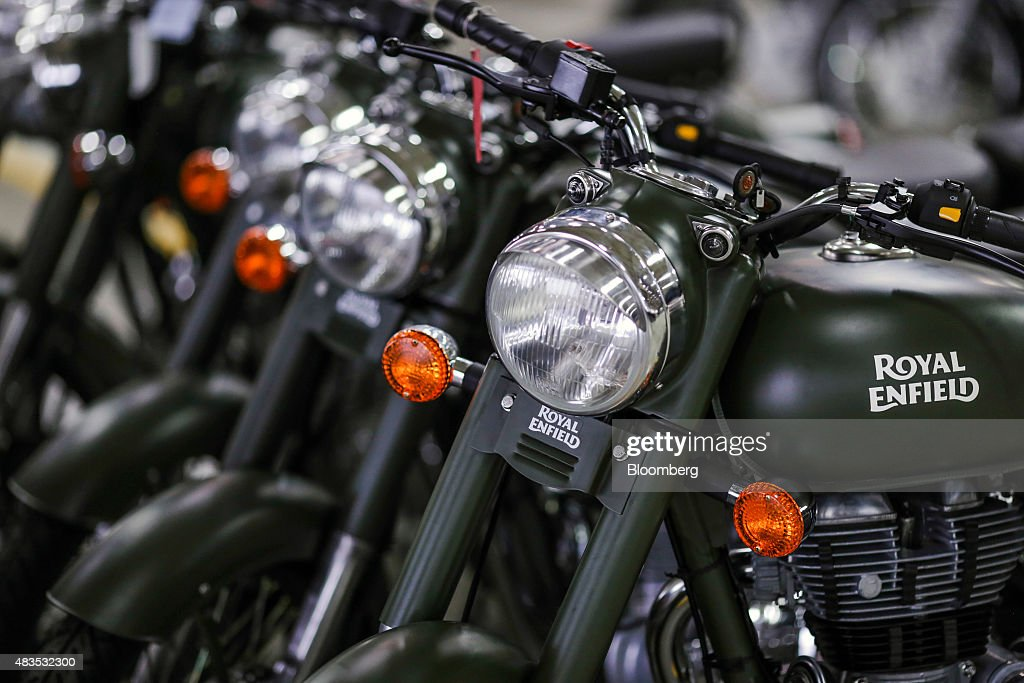 Royal Enfield Motors Ltd Classic 350 motorcycles stand on the production line at the company`s manufacturing facility in Chennai India on Tuesday...