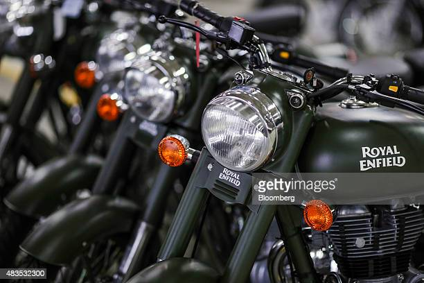Royal Enfield Motors Ltd. Classic 350 motorcycles stand on the production line at the company's manufacturing facility in Chennai, India, on Tuesday,...
