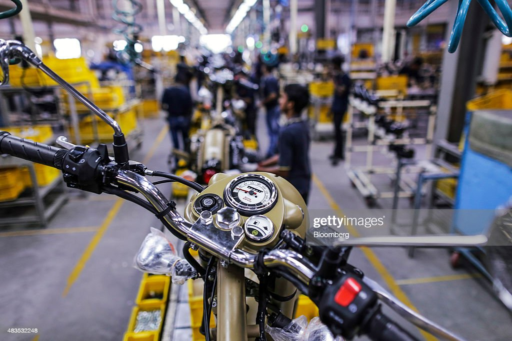 Royal Enfield Motors Ltd Classic 500 motorcycles move on a conveyor on the production line at the company`s manufacturing facility in Chennai India...