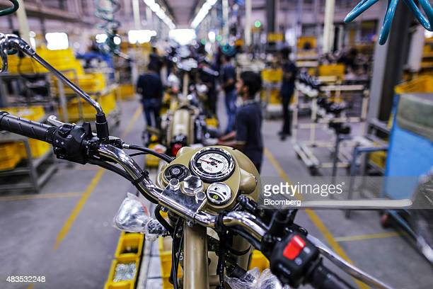 Royal Enfield Motors Ltd. Classic 500 motorcycles move on a conveyor on the production line at the company's manufacturing facility in Chennai,...