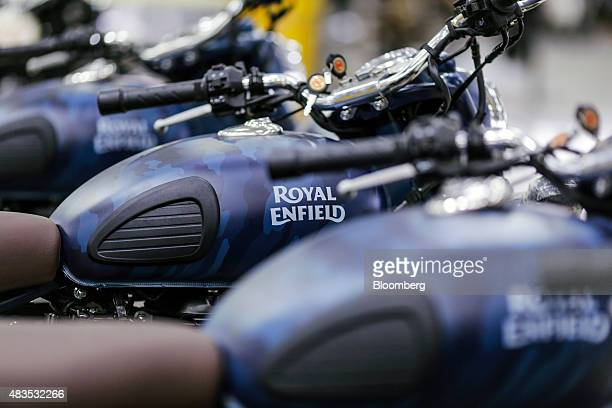 Royal Enfield Motors Ltd. Classic 500 Squadron Blue Despatch limited edition motorcycles stand on the production line at the company's manufacturing...