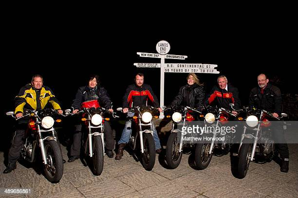 Royal Enfield riders Rob Graham Paul Blezard Dan Cartwright Sandy Caulfield Tom Bray and Sam Manicom on May 11 2014 in Land's End England Royal...