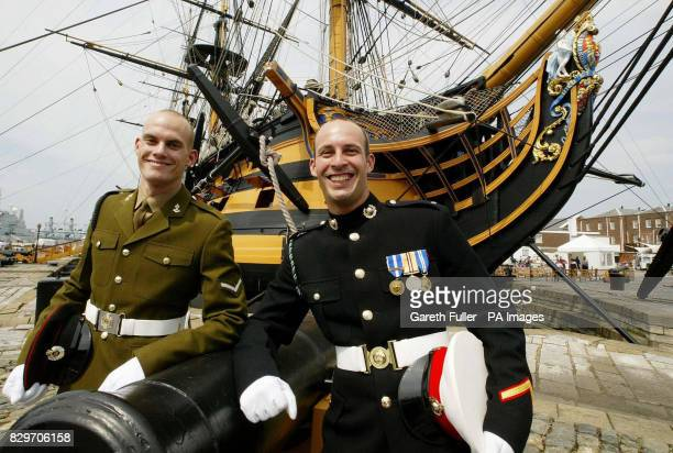 Royal Engineer Brett Nelson with brother Royal Marine Craig Nelson and direct descendants of Lord Nelson alongside HMS Victory