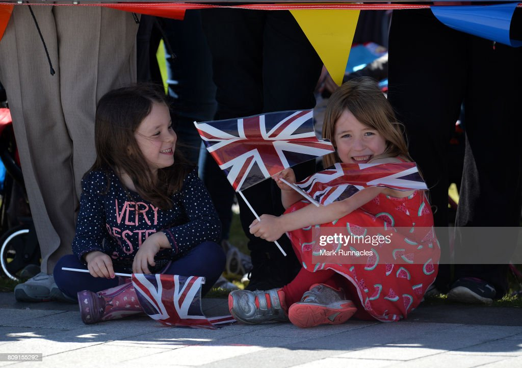 Royal enthusiast wait for Queen Elizabeth II and Prince Philip, Duke of Edinburgh to arrive at the Kelpies on July 5, 2017 in Falkirk, Scotland. Queen Elizabeth II and Prince Philip, Duke of Edinburgh visited the new section the Queen Elizabeth II Canal, built as part of the £43m Helix project which features the internationally-acclaimed, 30-metre-high Kelpies sculptures.