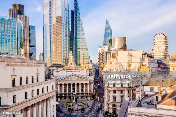 royal exchange building and skyscrapers of london city, high angle view, london, england, uk - downtown stock pictures, royalty-free photos & images