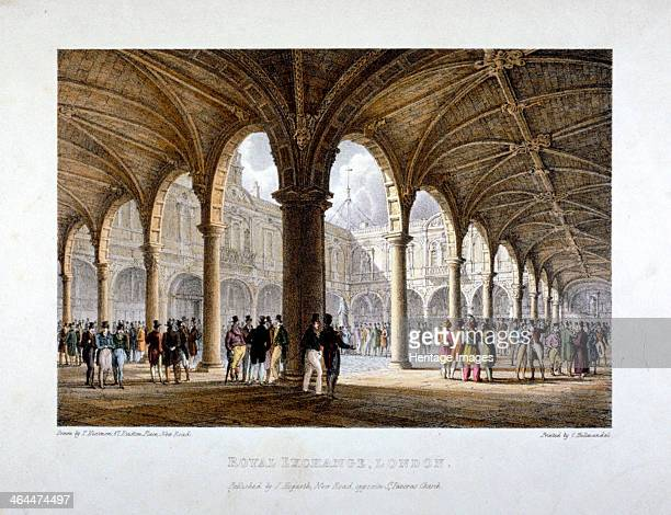 Royal Exchange City of London 1788 Interior view of the Royal Exchange from the northeast corner of the colonnade