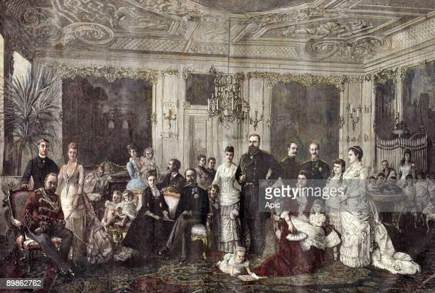royal families gathering in Denmark to celebrate silver wedding of czar and czarina in small village of Juleboekshusene prince Edward of Wales...