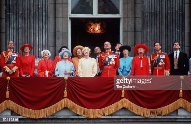 Royal Family At Trooping The Colour L To R Duke Of Kent Princess Alexandra Princess Margaret Queen Mother Queen Prince Philip Duchess Of Kent Prince...