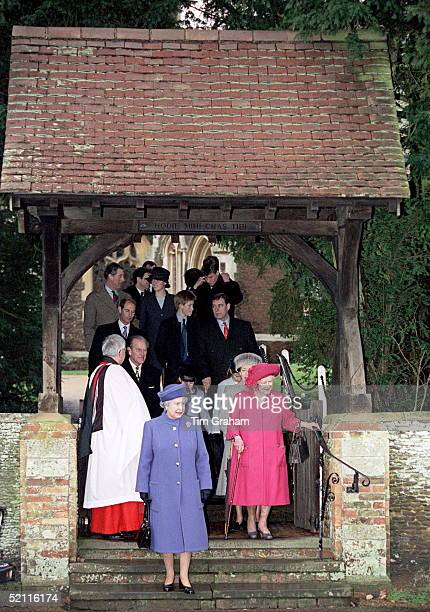 Royal Family Attending Christmas Day Service At Sandringham Church - Queen And Queen Mother