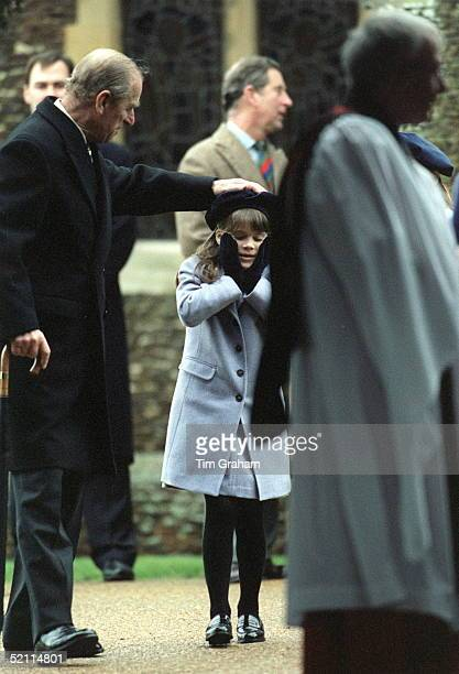 Royal Family Attending Christmas Service At Sandringham Church Prince Philip Playing With His Granddaughter Princess Eugenie