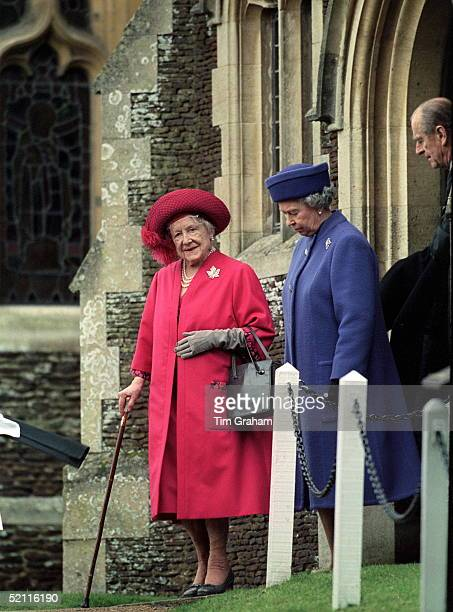 Royal Family Attending Christmas Service At Sandringham Church - The Queen, Queen Mother And Prince Philip
