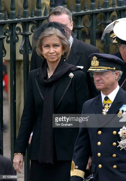 Royal Family Gather At Westminster Abbey For The Funeral Of The Queen Mother Queen Sofia Of Spain With King Carl Gustav Of Sweden