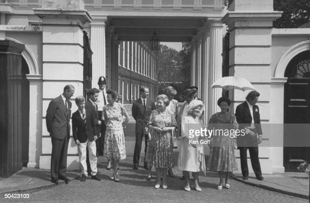 Royal family gathering outside Clarence House in celebration of Queen Mother's 90th birthday Prince Philip Peter Phillips Viscount Linley Princess...