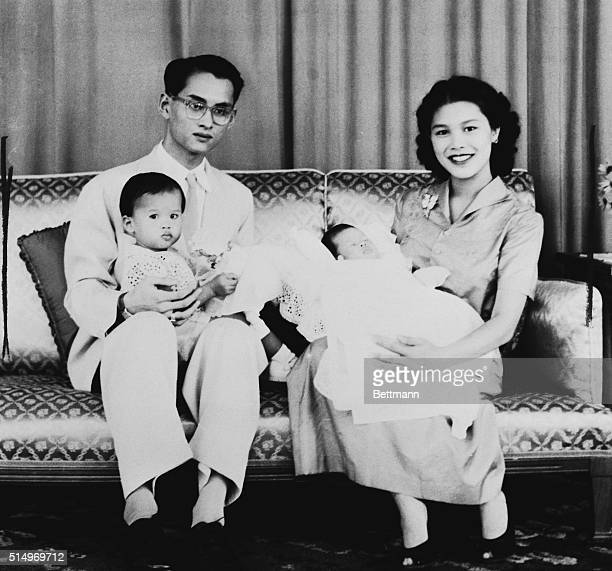 Royal Family of Thailand. Bangkok, Thailand: The royal family of Thailand poses for a portrait before King Bhumipol's private photographer. Queen...