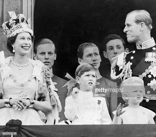 Royal Family on Balcony at Buckingham Palace, London, pictured after Coronation, 2nd June 1953.