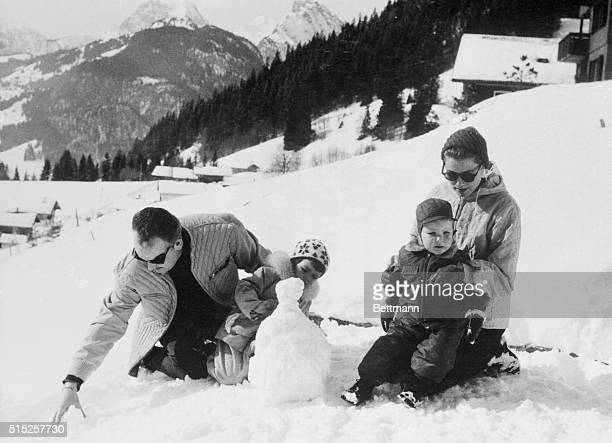 Royal family out in cold Schonried Switzerland Taking a winter vacation at this ski resort like many other tourists Prince Rainier and Princess Grace...