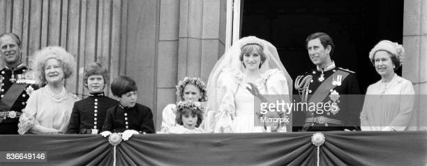 Royal Family - Queen Mother, Queen Elizabeth II, Prince Philip, Prince Charles and Princess Diana on the balcony of Buckingham Palace after the...