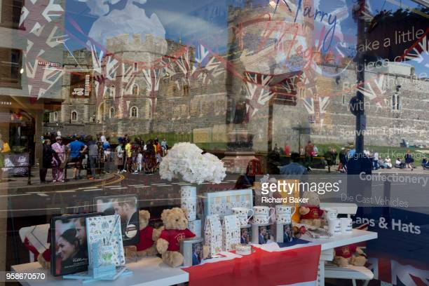 Royal family souvenirs and merchandise on sale in a tourist gift shop window as the royal town of Windsor gets ready for the royal wedding between...