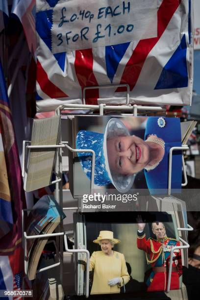 Royal family souvenirs and merchandise on sale outside a tourist trinket shop as the royal town of Windsor gets ready for the royal wedding between...