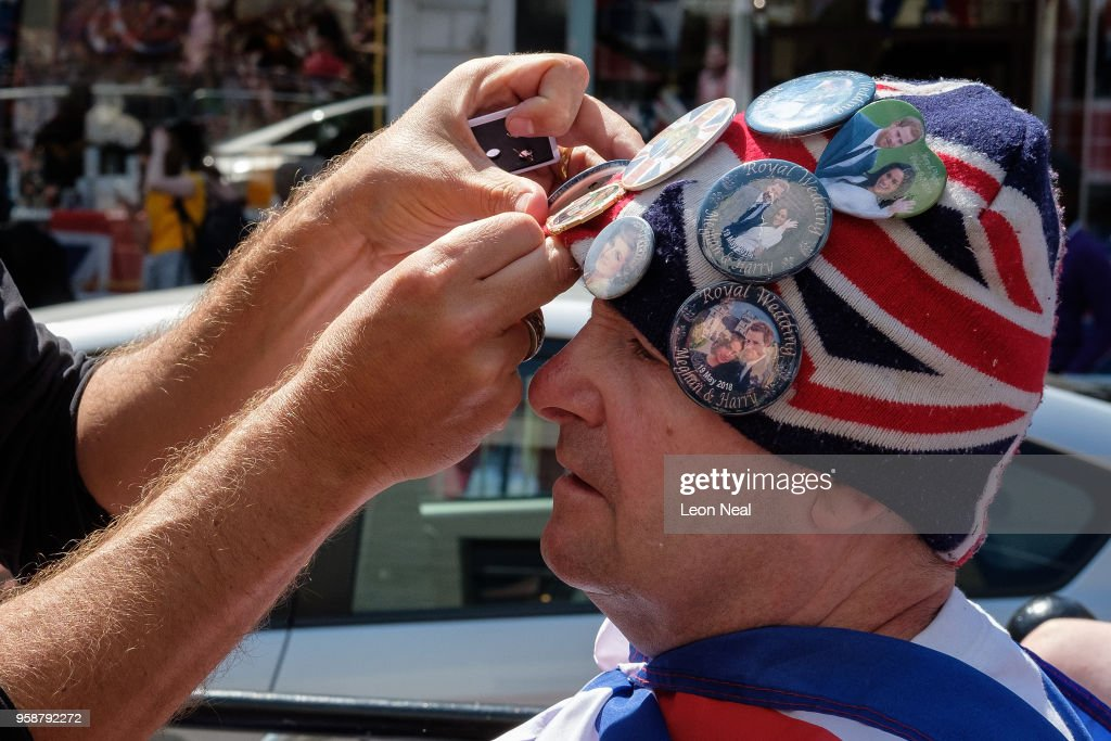 Royal fan John Loughrey has a new badge added to his hat after setting up his position ahead of a four day wait for the royal wedding of Prince Harry and Meghan Markle, on March 20, 2018 in Windsor, England.