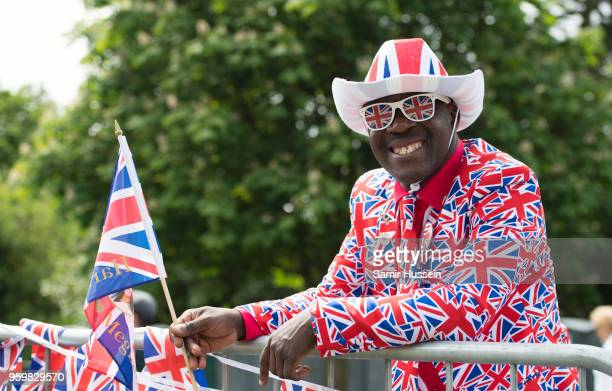 Royal fan waits on the Long Walk on May 18 2018 in Windsor England Preparations continue in the town for the wedding between Prince Harry and Ms...