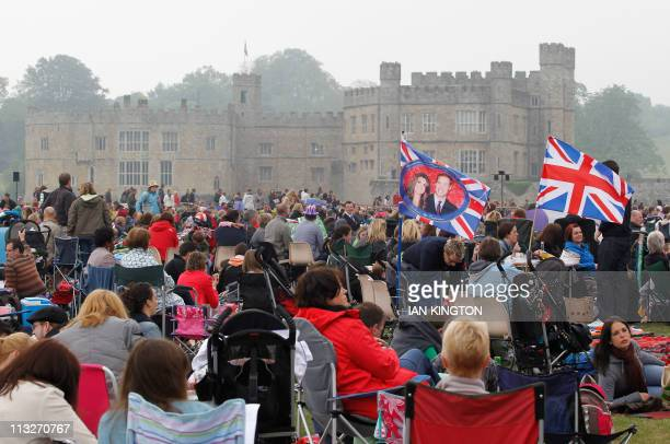 Royal fans gather at Leeds Castle in south-east England, and watch the royal wedding between Britain's Prince William and Kate Middleton on April 29,...