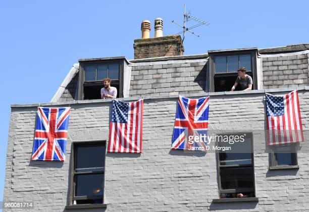 Royal fans in the High Street next to the castle watch as the Duke and Duchess of Sussex were about to leave in the Ascot Landau carriage during the...