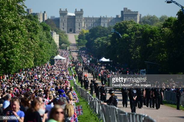 Royal fans line the Long Walk in Windsor ahead of the wedding of Prince Harry and Meghan Markle