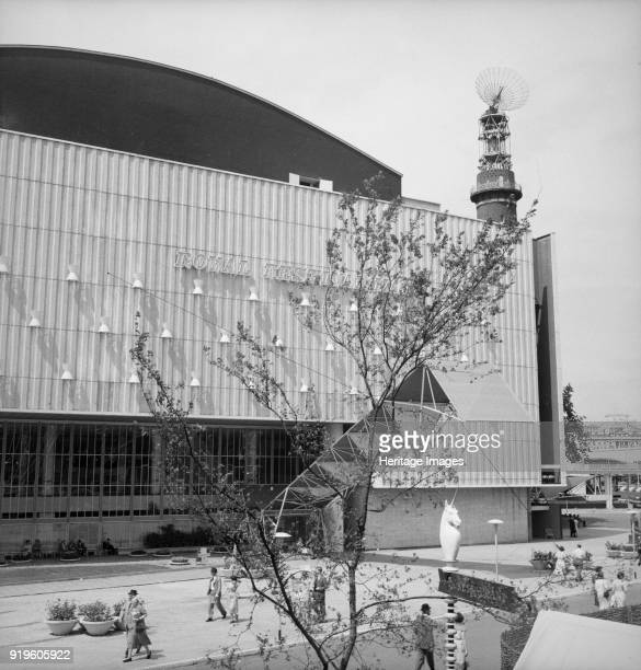 Royal Festival Hall Festival of Britain South Bank Lambeth London 1951 The Royal Festival Hall viewed from the platform of the Lion and Unicorn...