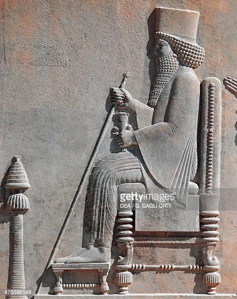 Royal figure on the throne possibly Darius I basrelief Persepolis Iran Achaemenid civilisation 6th5th century BC