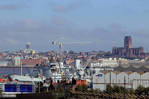 Royal Fleet Auxilary ship Fort Rosalie is repaired in the dry dock at Cammell Laird shipyard on October 7 2010 in Birkenhead United Kingdom...