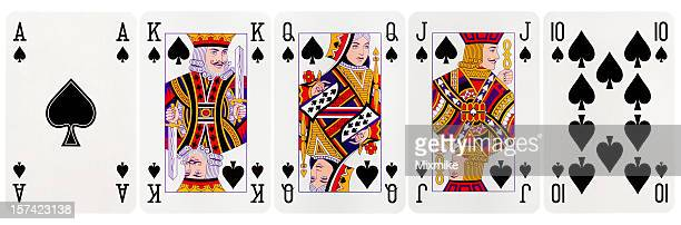 royal flush clubs - poker card game stock photos and pictures