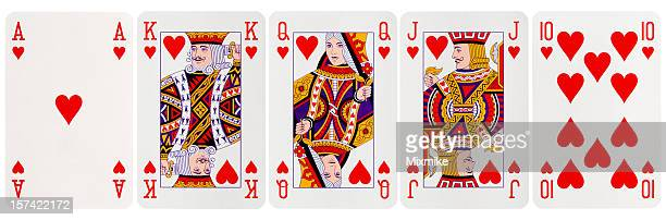 royal flush hearts - poker stock-fotos und bilder