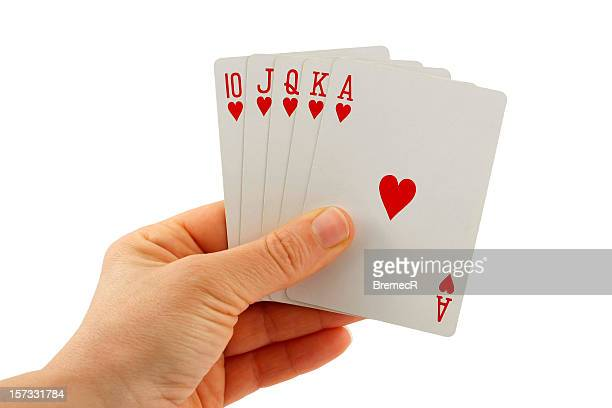 royal flush in hearts - poker card game stock photos and pictures