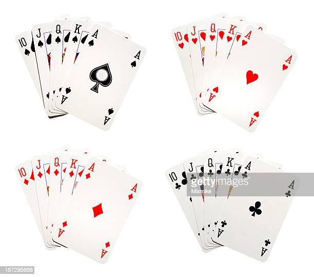 royal flush - royal flush stock photos and pictures