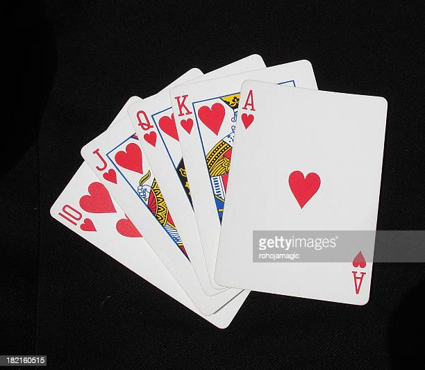 royal flush - hearts playing card stock photos and pictures