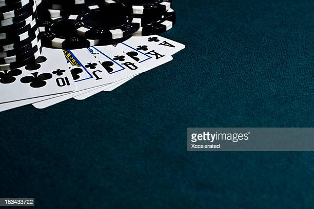 Royal Flush with Black Poker Chips